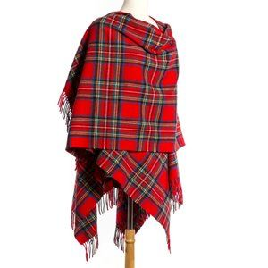 New Ireland Wool Wrap Cape Plaid Red Blue Green